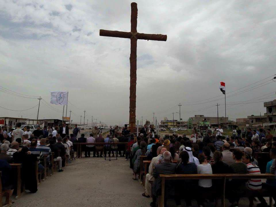A cross consecrated in the ISIS-devastated town