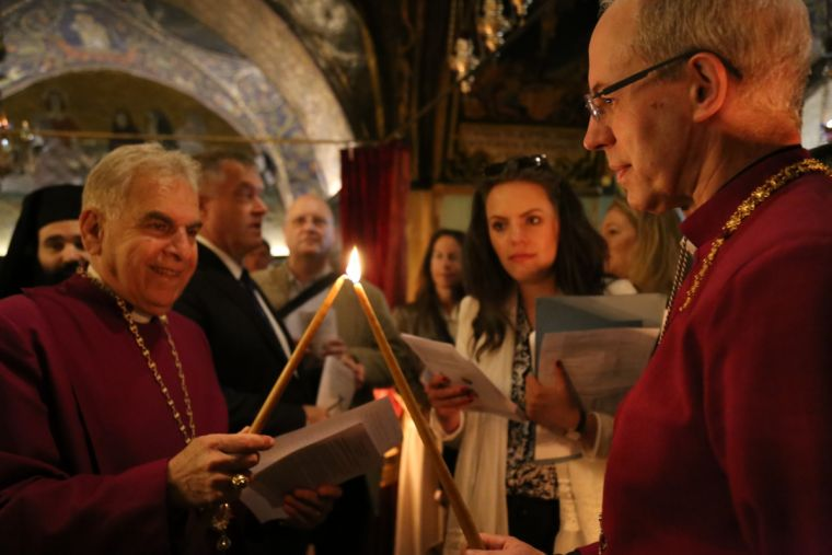 Archbishop Justin Welby visits the three main holy sites in the Old City of Jerusalem with Archbishop Suheil Dawani, 3rd May 2017.