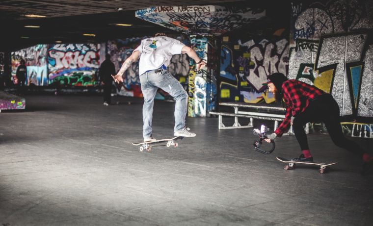 Young people skateboarding in London