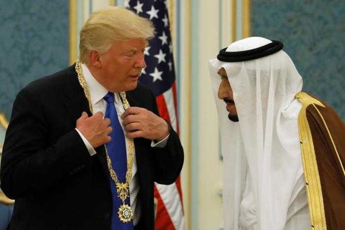 Saudi Arabia's King Salman bin Abdulaziz Al Saud presents President Donald Trump with the Collar of Abdulaziz Al Saud Medal