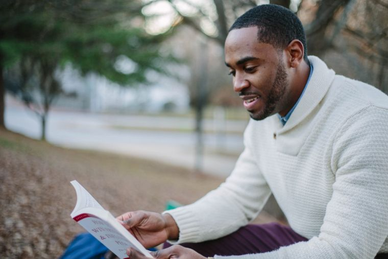 A student reads