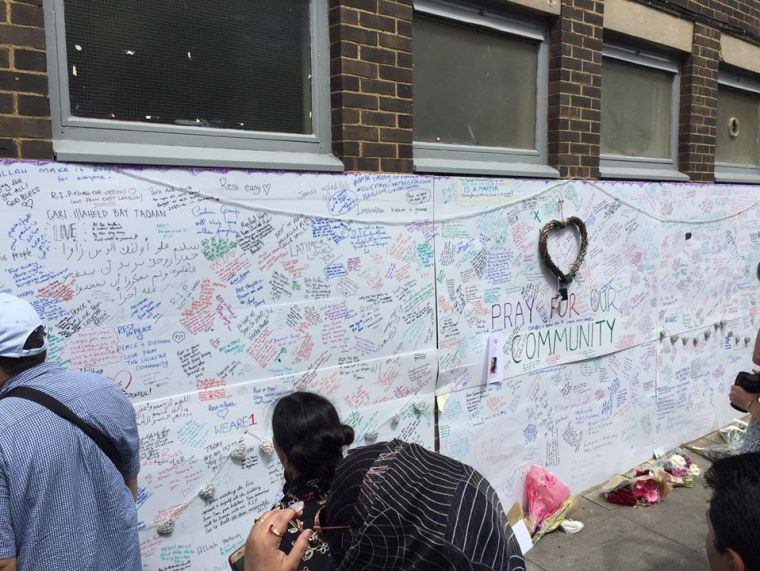 Grenfell Tower fire wall of prayer