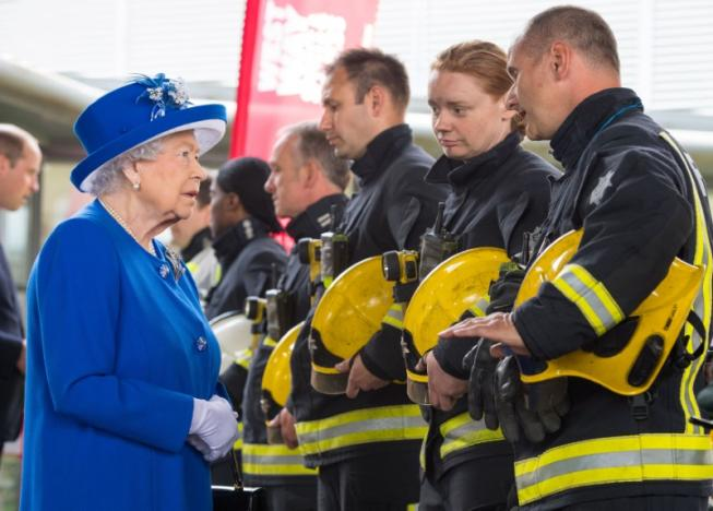 The Queen meets firefighters at Grenfell Tower fire disaster