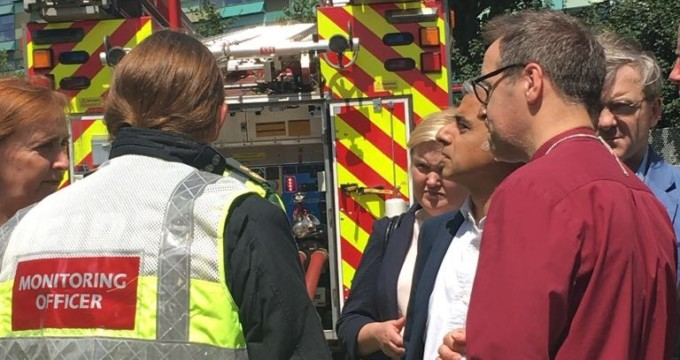 Bishop of Kensington with Mayor of London at Grenfell Tower