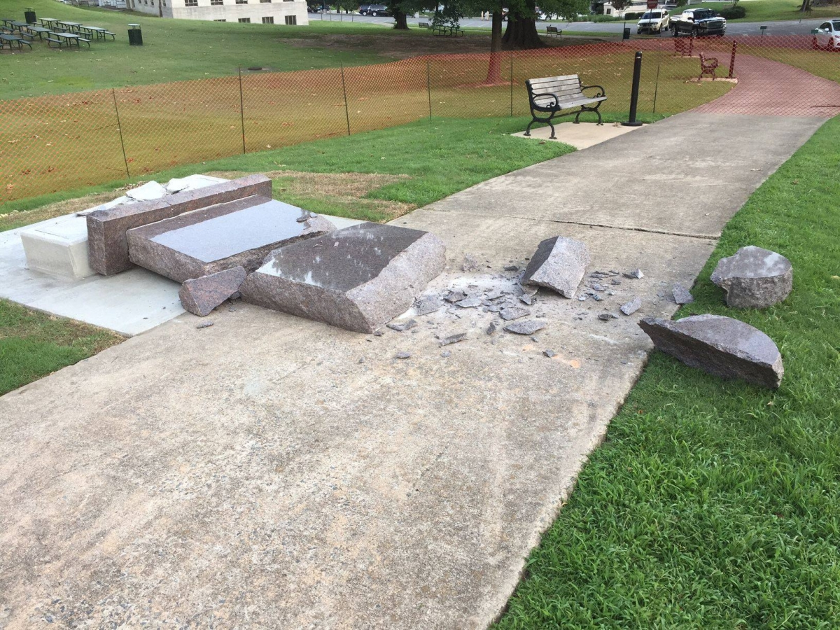 Arkansas Politicians Label Man 'Idiot,' 'Vile Thug,' After Ten Commandments Monument Destroyed