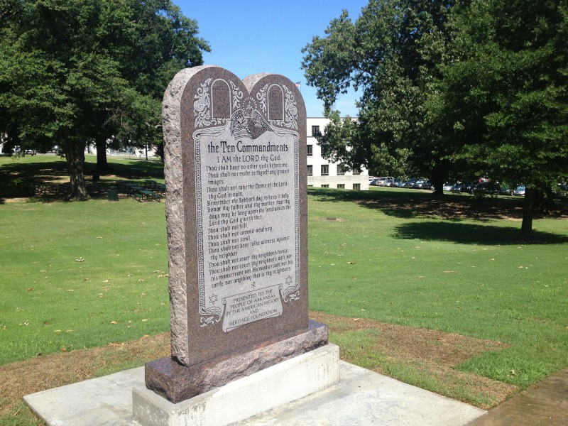 Ten Commandments monument toppled at Arkansas Capitol