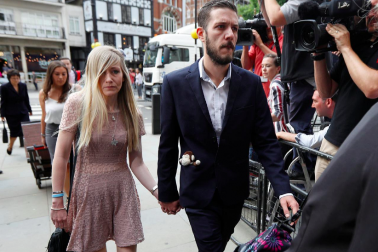 The parents of critically ill baby Charlie Gard, Connie Yates and Chris Gard arrive at the High Court in London