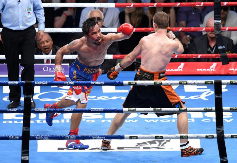 Manny Pacquiao swings during his fight against Jeff