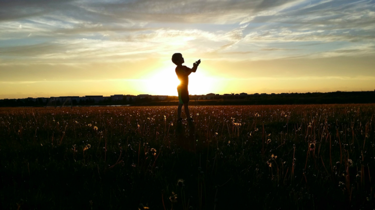 Child in the sunset