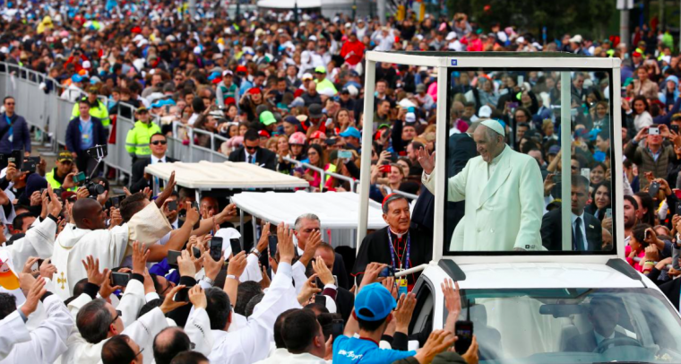 Pope Francis arrives for a holy mass at Simon Bolivar park in Bogota, Colombia September