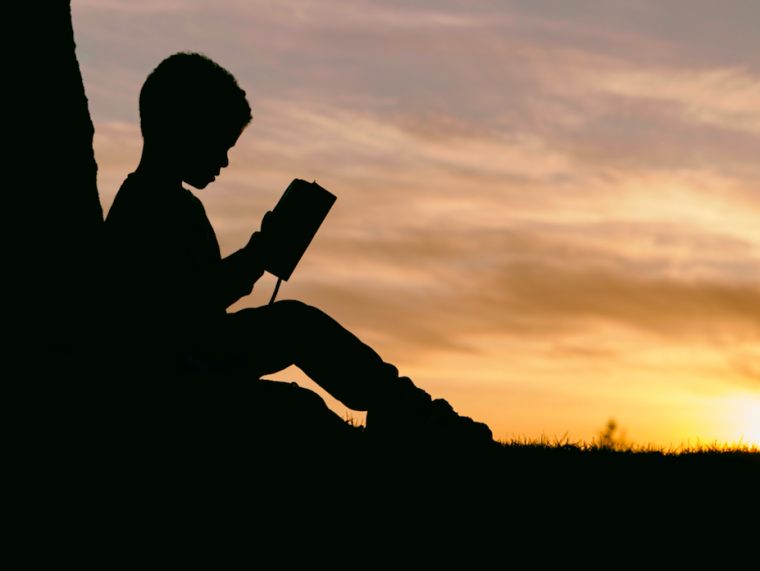 Stories: a child reads a book