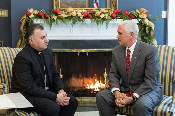 Mike Pence and Chaldean Archbishop Bashar Matti Warda of Erbil