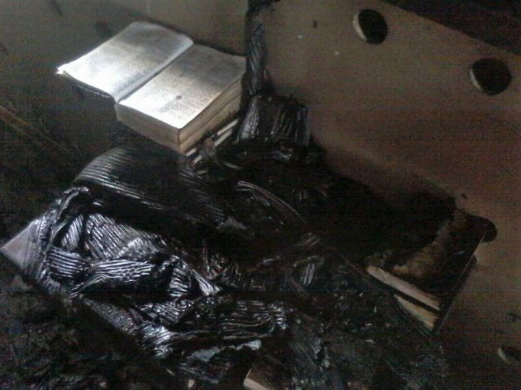 A Bible survived the arson attack on the Baptist church