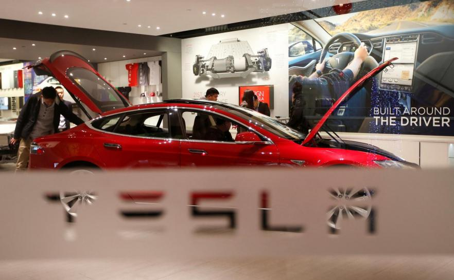 Tesla Model 3 hits showroom for first time ever - in Palo Alto