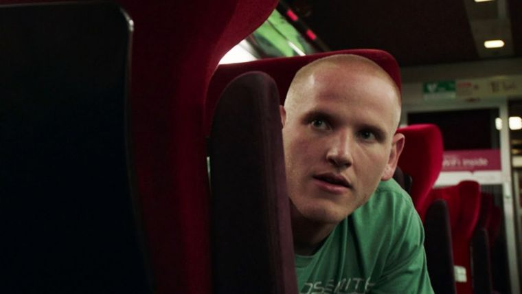 Spencer Stone on board the fateful train in the movie The 15:17 to Paris