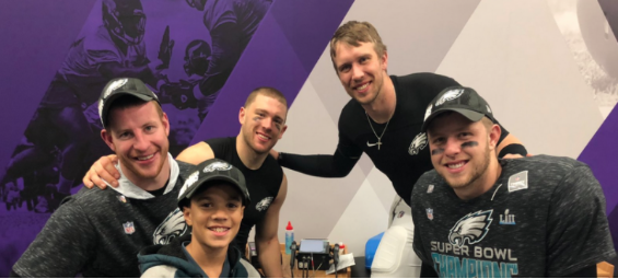 6ab8785b3 ... son Justin was able to join the Super Bowl champions. Philadelphia  Eagles quarterbacks Nick Foles