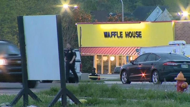 REUTERS TVPolice Say A Naked Gunman Armed With An AR 15 Style Assault Rifle  Opened Fire At A Waffle House Near Nashville, Tennessee Early Sunday  Morning ...
