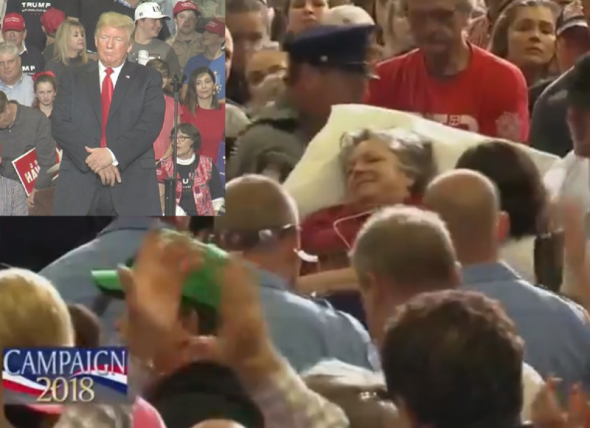 Crowd prays and sings 'Amazing Grace' at Trump rally after supporter takes ill
