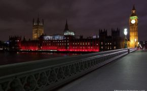 Buildings lit up red in solidarity with persecuted Christians