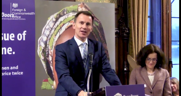 Jeremy Hunt 'appalled' by suffering of 245 million Christians persecuted for their faith