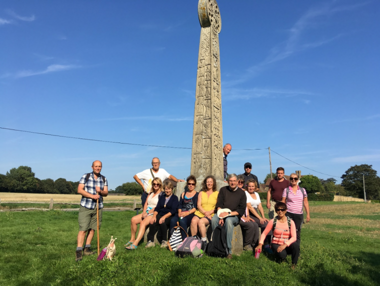 Andrew Kelly and pilgrims at St Augustine's Cross Ebbsfleet
