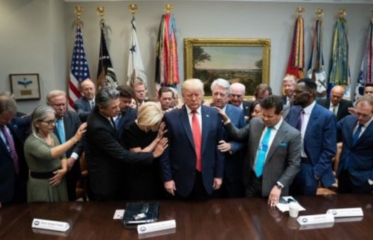 Christian, evangelical leaders pray over Donald Trump in the White House