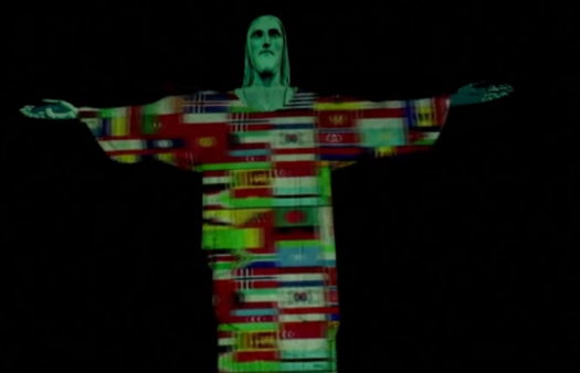 Christ the Redeemer lit up with flags of countries affected by coronavirus pandemic