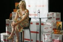 J.K. Rowling speaks at a press conference at the first stop of the ...