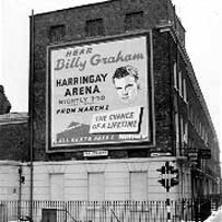 Billboard announcing Billy Graham meeting at Harringay